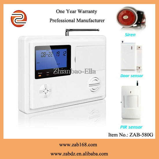 ZAB-580G,Best 99 wireless Defence areas,High quality <strong>GSM</strong>&PSTN dual network home alarm security system monitoring