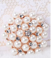 WSF0027 New Arrival Korea Elegant Brooch Clear Rhinestone Brooch For Wedding LUXURY Pearl Bride