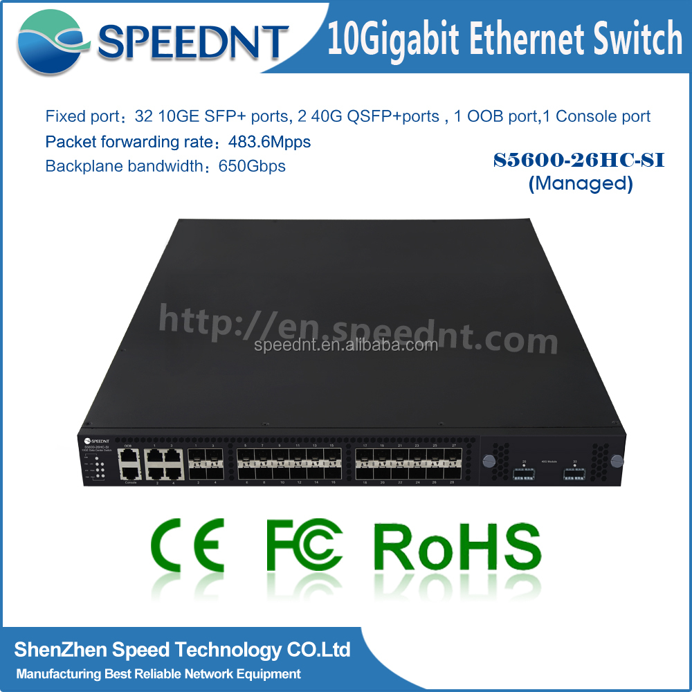 Speednt Enterprise 24 ports Network Switch S5100 Series S5100-26HC-SI 24 x GE SFP ports, 6 x Combo