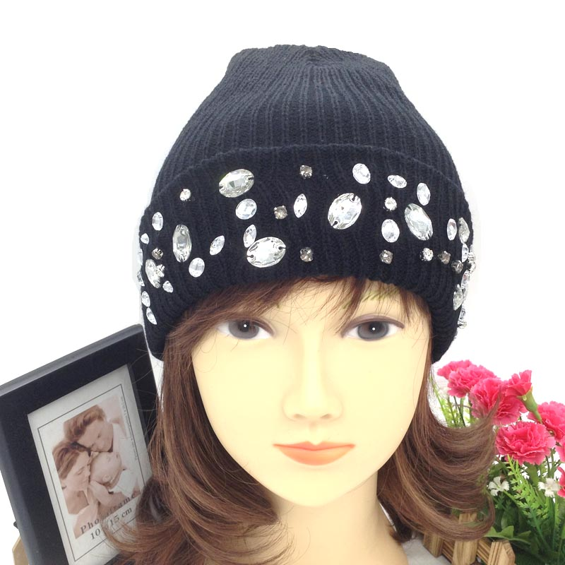 Classic style wholesale acrylic knit beanie hat with crystal stones