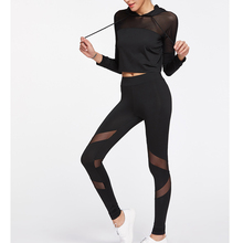 OEM wholesale sports sweat suits sheer crop top hoodie and compression tights for women