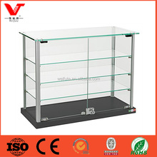 Modern Glass Aluminium Display Cabinet with tempered glass shelves and locking door