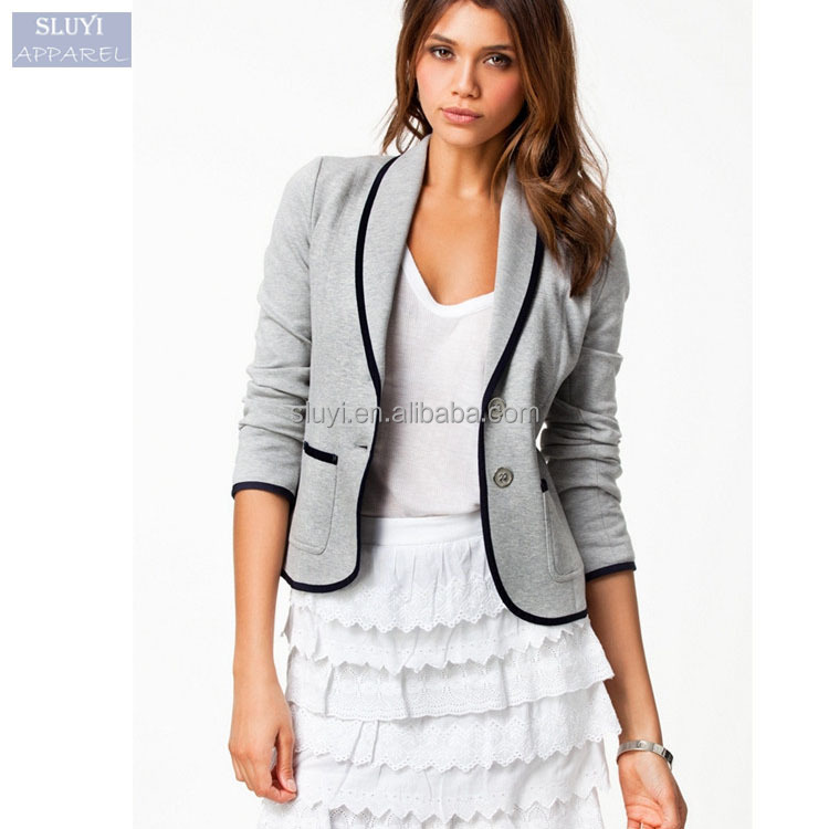 Casual Women colour combination suits Single Breasted lapel Blazer fancy ladies suits black gray Cotton woman suit With Pocket
