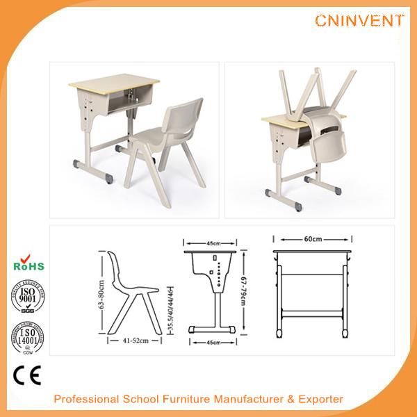 Primary School Single Height Adjustable Desk And Chair Set - Buy Height Adjustable Desk And ...