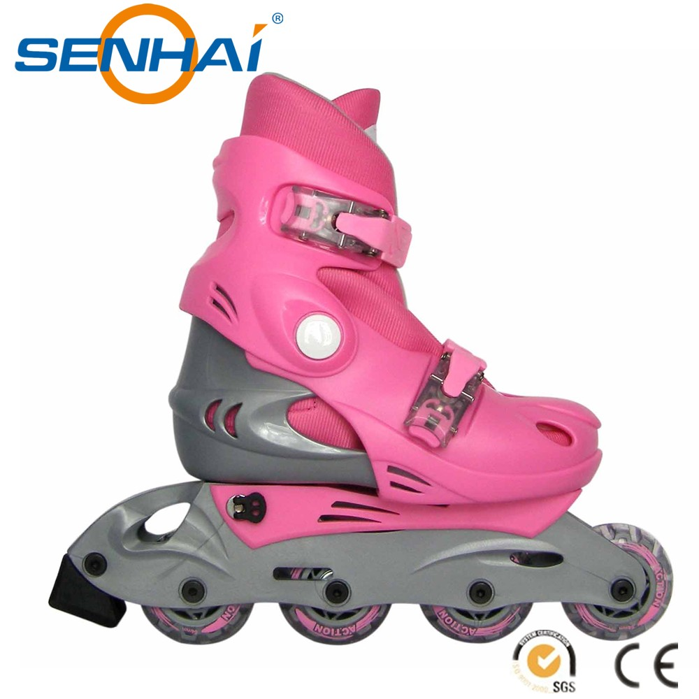 SENHAI 2016 PVC Materials 3 Wheel Roller Skates Cheap Inline Roller Skates Shoes Sport Products Fitness Equipment Flashing Rolle