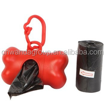 Red Dispenser With A Black Poop Roll Refills, Bone Shaped Dog Poop Bags