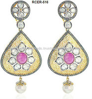 14k Yellow Gold Rose Cut Diamond Victorian Dangle Earrings Jewelry Precious Ruby Gemstone Designer Wholesale Earrings