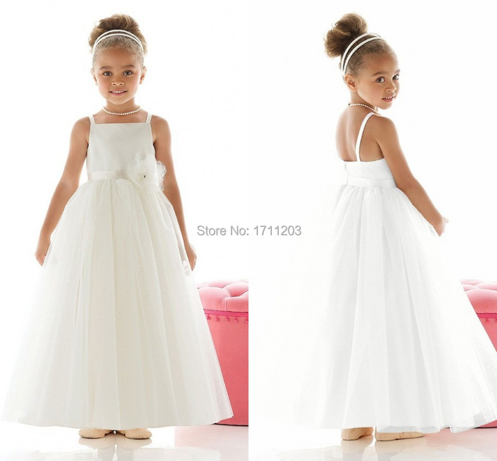 Cheap girls dresses to wear to a wedding find girls dresses to white long a line little girls wedding party dresses 2015 spaghetti strap cheap holy communion dress ombrellifo Images