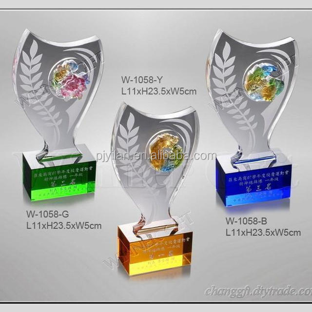 Noble colourful liuli and Clear Crystal Combine Award High point glass plaque award
