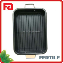W FJB-78 Nonstick Carbon steel rectangle baking pan plate with double side handles