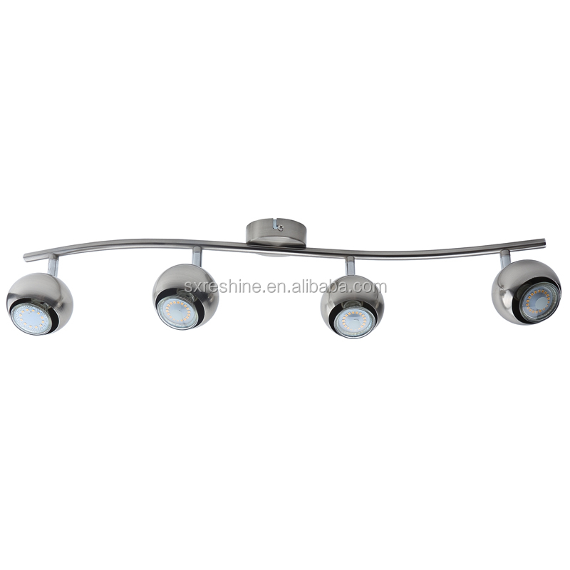 retro IP20 ball shade 4 spots brushed nickel metal bar GU10 LED tracking spotlights, LED Spot lights, adjustable LED spotlights