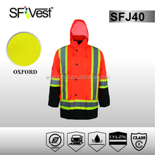 2015 winter new design uniforms workwear 3m reflective safety waterproof raincoat