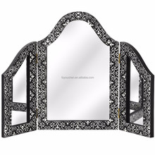 Embossed Black Silver Marrakech three way dressing table mirror