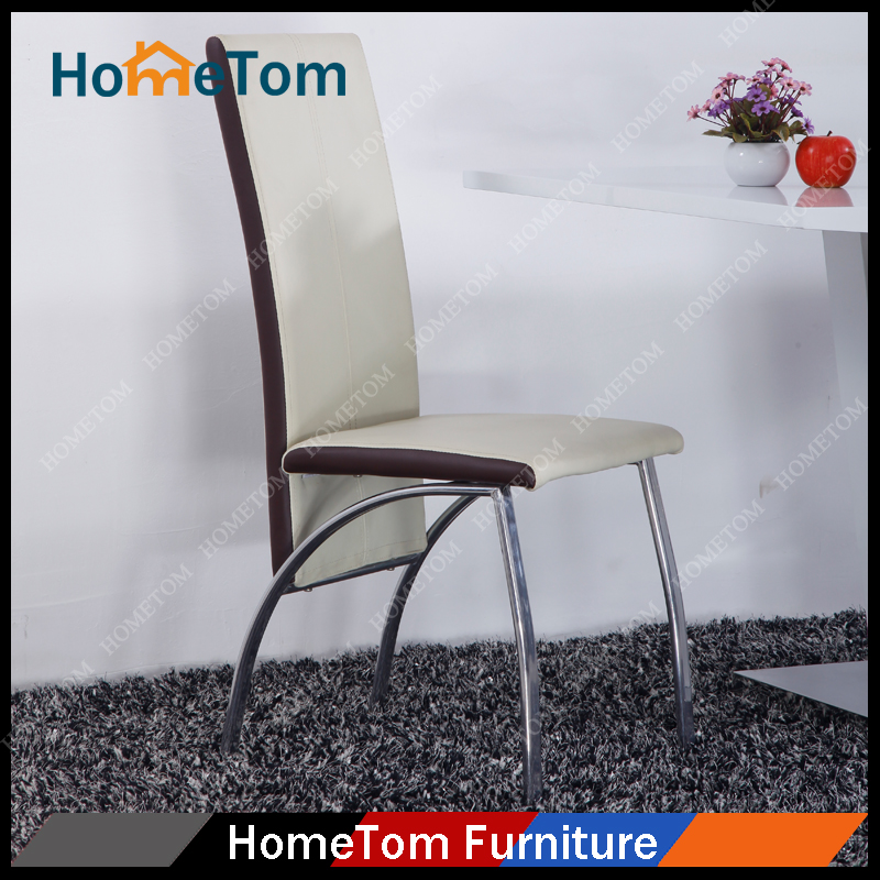 PVC Dining Chairs with Chromed Legs Cafe Chairs Restaurant Modern