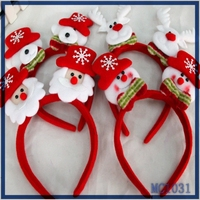 Hot sale christmas decoration cheap wholesale christmas hair jewellery red santa claus pattern with light kids hairband