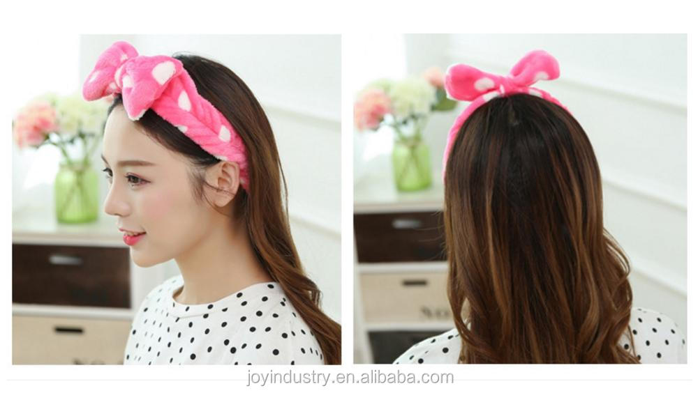 OEM/Cute Bowknot Soft Carol Fleece Bow Wash Cosmetic Headband/Hairlace/Hair Band/ Makeup Cosmetic Shower Elastic Hair Band Hairl