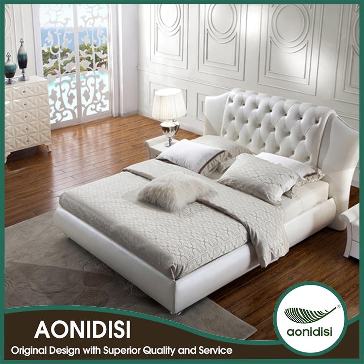 popular original patent design white leather bedroom set
