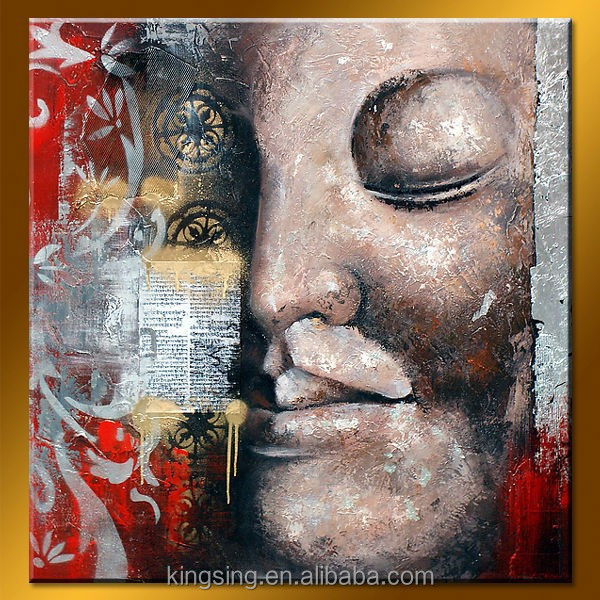 made in China buddha oil painting on linen for wall decoration