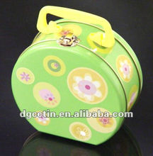 Apple shape lunch tin box with plastic handle and lock