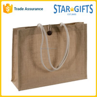 Wholesale 2016 Silk Screen Eco Bulk Promotional Gift Burlap Jute Shopping Bags With Button