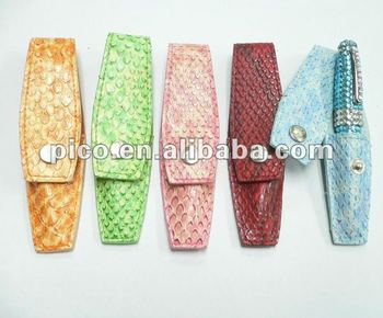 various color pu leather pen box for single mini ball pen as a gift set