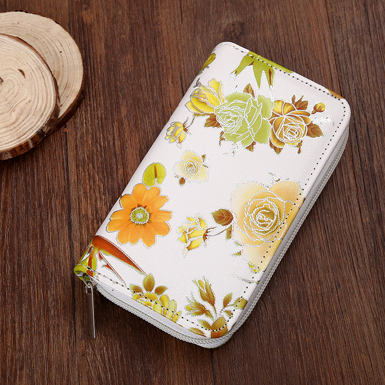 Flower print women long zipper wallet