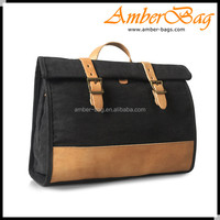 Multi-use Vintage canvas messenger bag.backpack bag with genuine leather AB1607