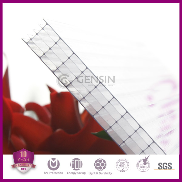 10mm Five Rectangle Structure Transparent Multiwall Polycarbonate Sheet For Greenhouse Heat Insulation Double UV Protector