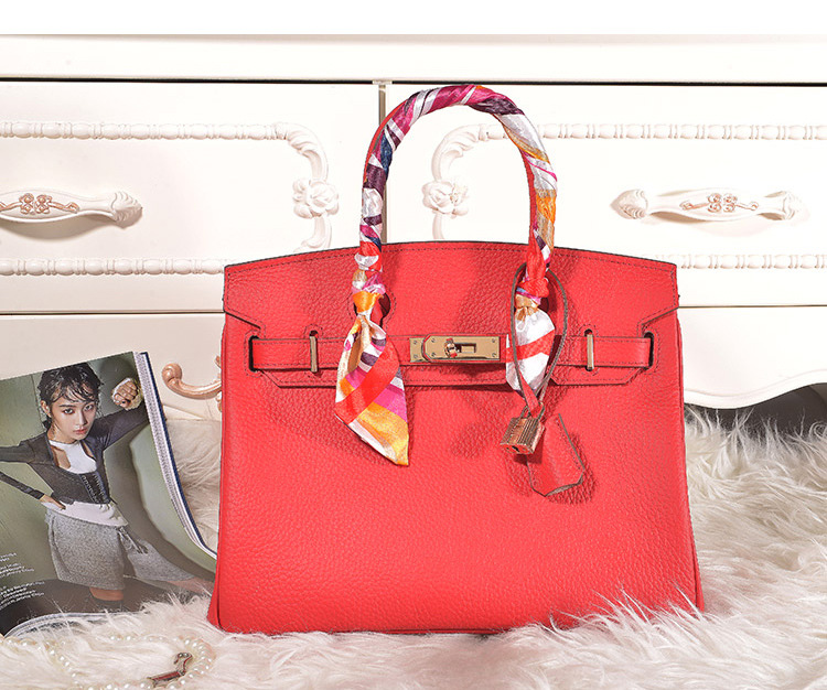 Factory direct sales nice quality red 30cm Lychee cowhide leather european design handbags H-Y10 OEM custom private logo
