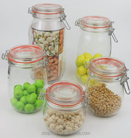 Hermetic Glass Storage Jar with Glass Lid, Silicon Ring and Metal Clip