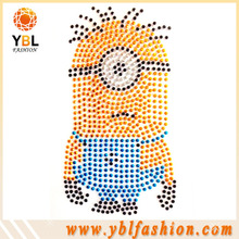 Hot fix Yellow man rhinestone heat transfer for hoody tops