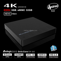 HOT !! octa core 3G 32G mini m8s pro 4K Amlogic S912 set top box Support 3D 4K dual wifi 2.4G+5.8G wifi Media player