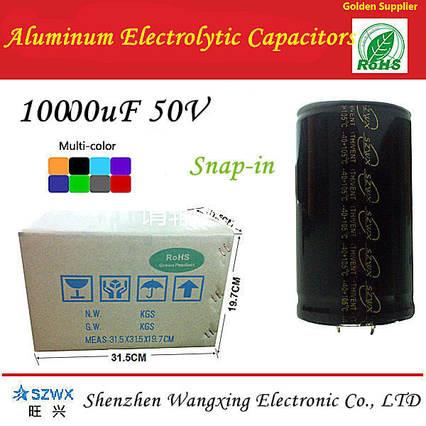 Long Life 3000 hours above 10000uF 50V Snap-in Type aluminum electrolytic capacitors professional manufacturers