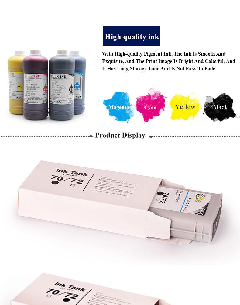 OCBESTJET Factory Price Printer Compatible Ink Cartridge For HP Z2100 Z5200 Z5400 Z3100 Z3200 Inkjet Ink Cartridges For HP 70