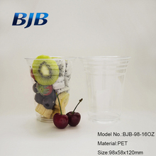 16 oz plastic clear salad drink pet cups with flat lids