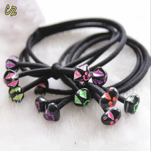 China supplier make black color small elastic baby hair rubber bands with star beads