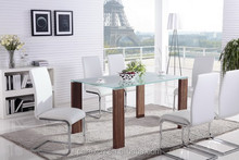 modern tempered glass dining table with wooden legs