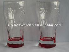 coco-cola drinking glass with colored bottom