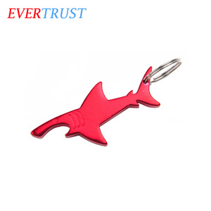 promotional aluminum shark shape keychain bottle opener