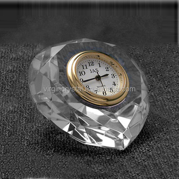 Promotional and special design glass diamond shape crystal wall table clock for office desk gift