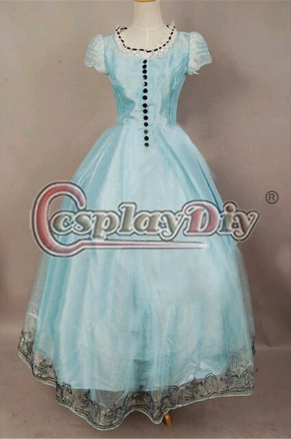 Custom Made Alice In Wonderland Alice Fantasy Blue Dress Costume