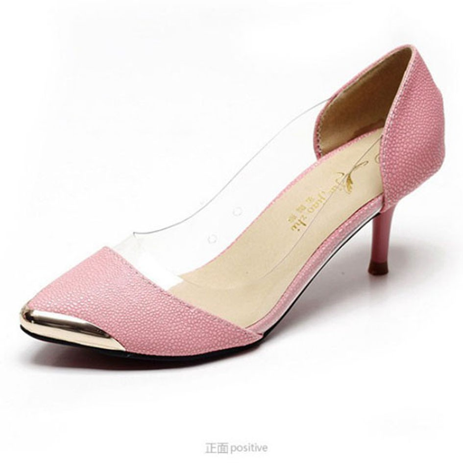 Pointed Steel Toe Red Bottom Transparent PVC Women High Heeled Pumps Dress Shoes