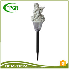 Solar powered miniature angel figurine plastic lawn light with colour changing led light