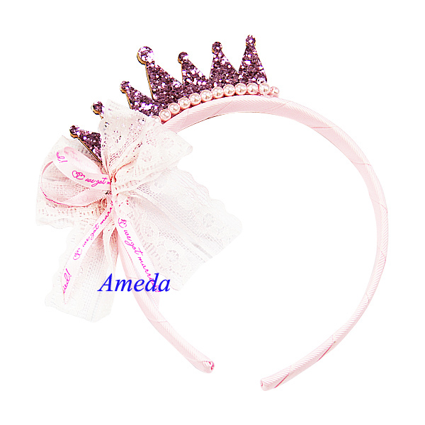 Girls Bling Light Pink Crown Pearl Lace Ribbon Princess Headband Hair Accessory
