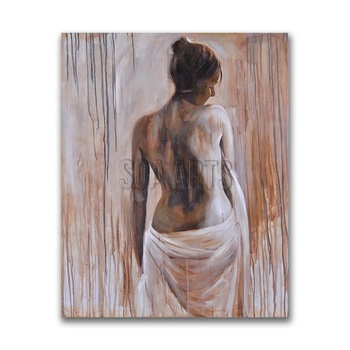 Back Sight Of Half-Naked Girl Modern Art Paintings for Bedroom