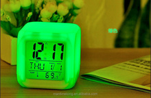New Hot 7 LED Colour Changing cheap alarm clock mini alarm clock table alarm clock