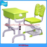 plastic adjustable school furniture primary students desk and chair