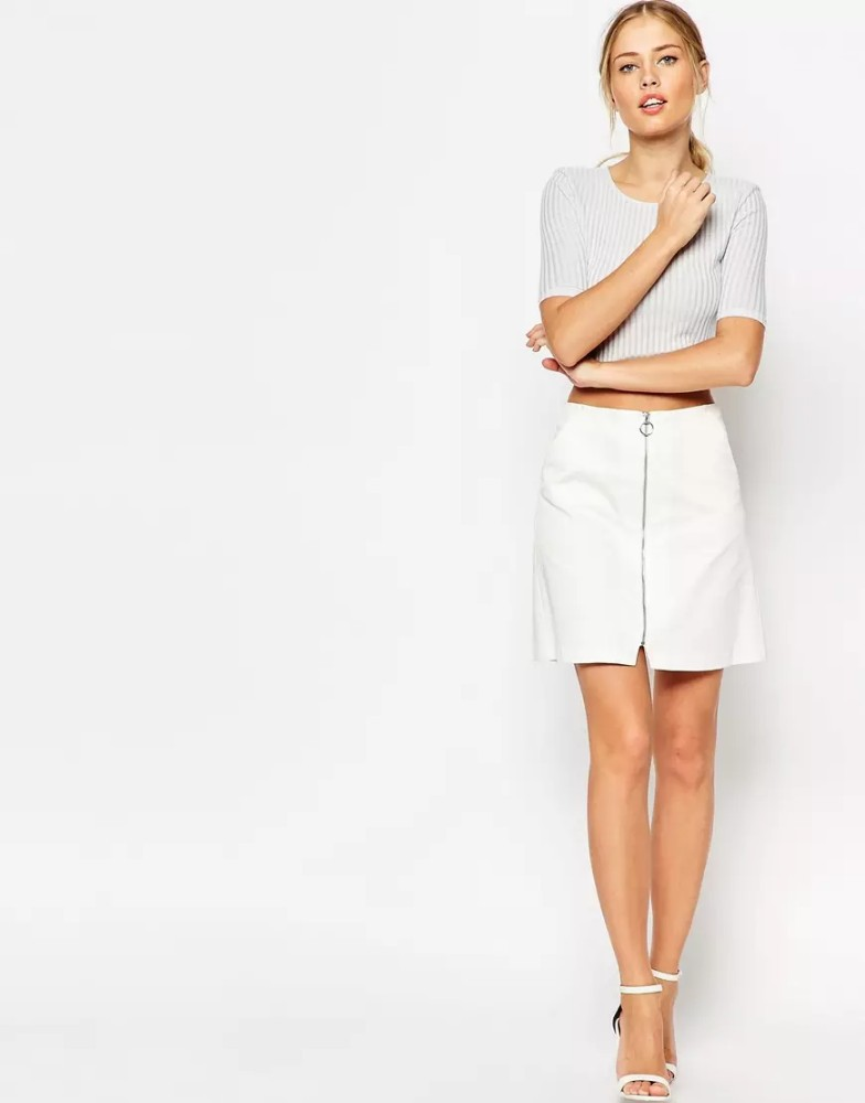 Women clothing Aline Skirt with Zip through Detail