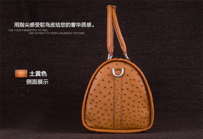 Customize exquisite perfect looking luxury ostrich leather travel duffle bag_9