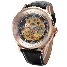 KS Carving Retro Mens Rose Gold Mechanical Skeleton Leather Dress Wrist Watch